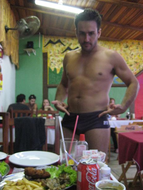 Wearing a speedo at a resturant during dinner!